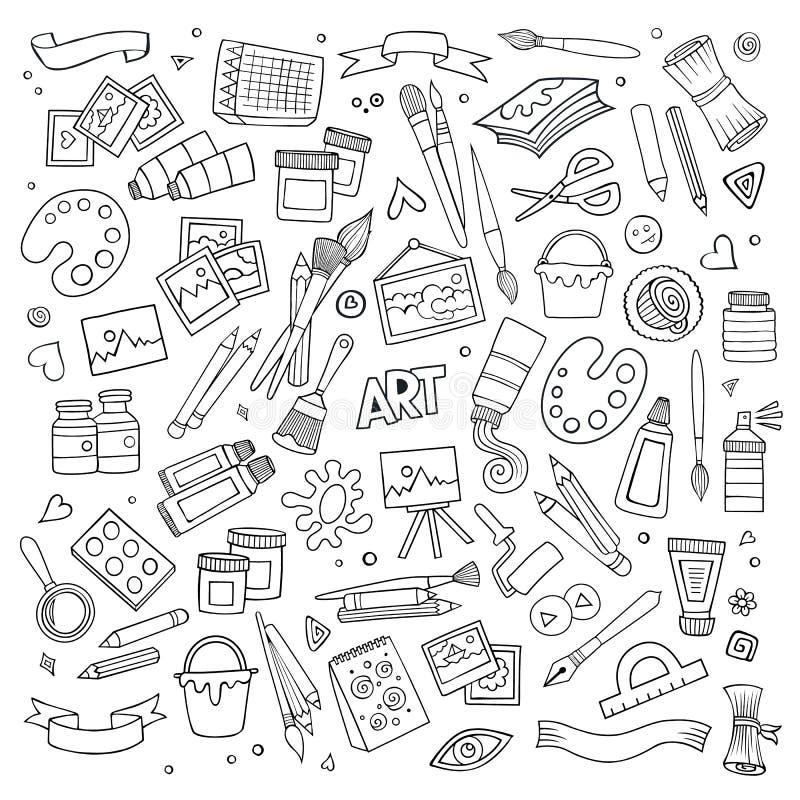 Konsthantverkvektorsymboler och objekt vektor illustrationer