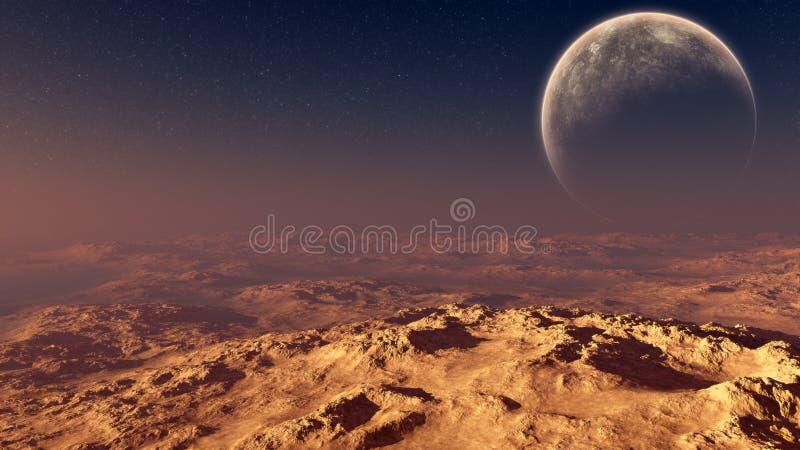 Konstig måne över ökensolnedgång stock illustrationer