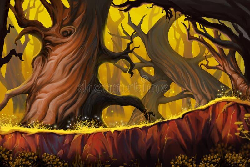 Konstig trädskog stock illustrationer