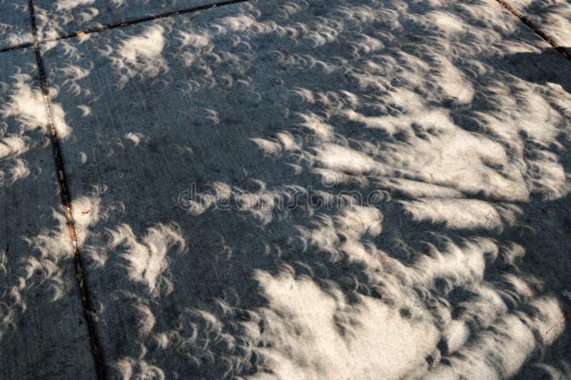 Konstiga skuggor under en sol- förmörkelse arkivfoton