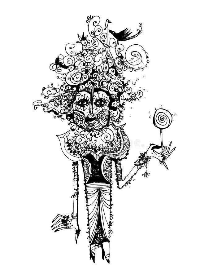 Konstigt men en bra trollkvinna Svartvit kalligrafi, kan användas i publikationer och i administrationen royaltyfri illustrationer
