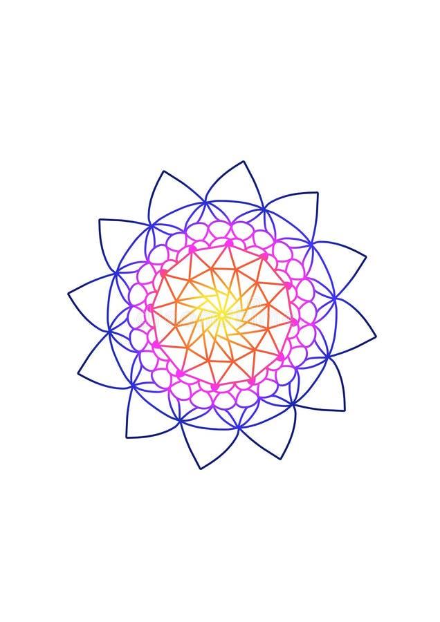 Konstillustration Indisk mandala för färgglad teckningskonstbok Avslappnande bakgrund med regnbågelutning Blommastilmotiv stock illustrationer