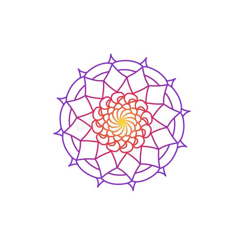 Konstillustration Indisk mandala för färgglad teckningskonstbok Avslappnande bakgrund med regnbågelutning Blommastilmotiv vektor illustrationer