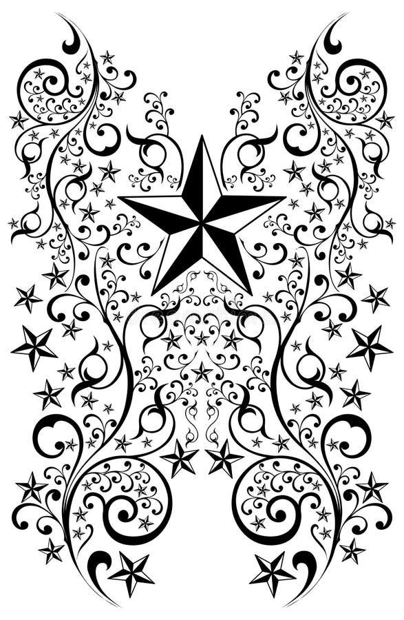 konstillustrationstjärnor tatuerar den stam- vektorn stock illustrationer