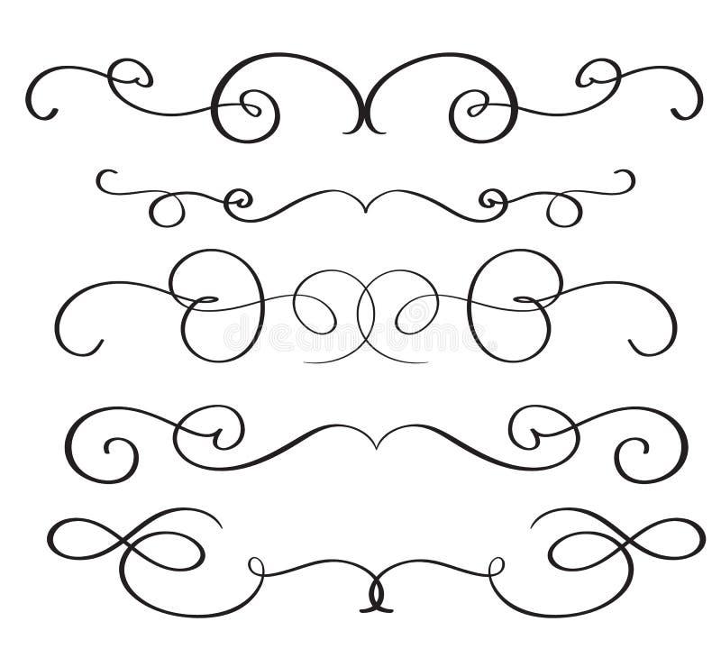 Konstkalligrafikrusidull av dekorativa whorls för tappning för design Vektorillustration EPS10 stock illustrationer