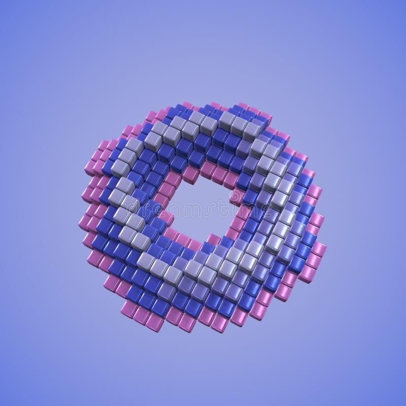 konstmunk för PIXEL 3D vektor illustrationer