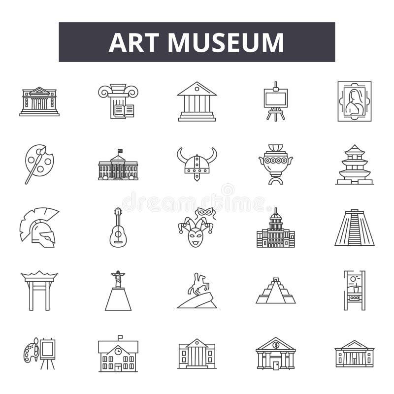 Konstmusemlinje symboler, tecken, vektoruppsättning, översiktsillustrationbegrepp royaltyfri illustrationer