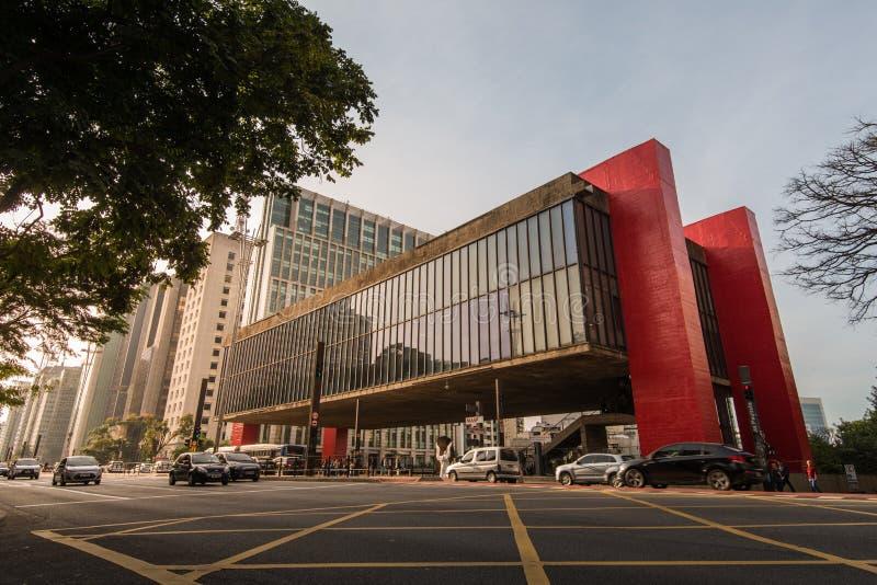 Konstmuseum av Sao Paulo i den Paulista avenyn arkivbilder