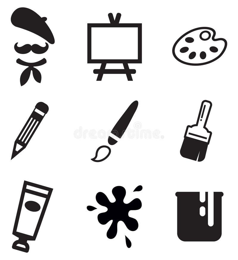 Konstnär Icons royaltyfri illustrationer