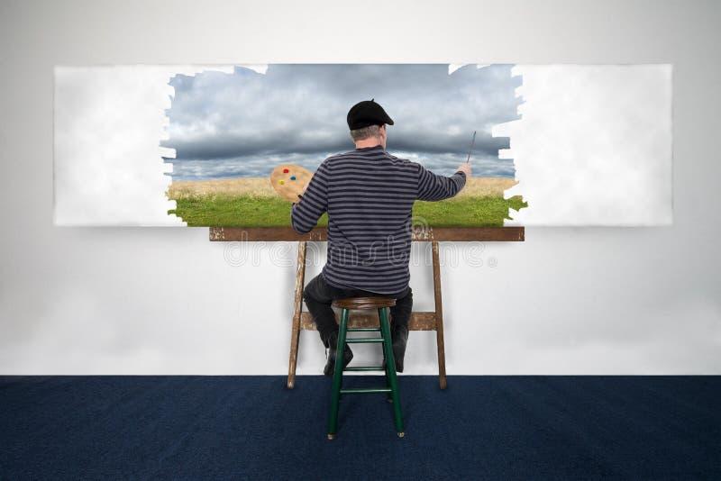 Konstnär- och målarePaint Oil Painting landskap på vit kanfas royaltyfria foton