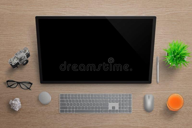 Konstnär studio för grafisk formgivare med studiopekskärmen royaltyfri fotografi