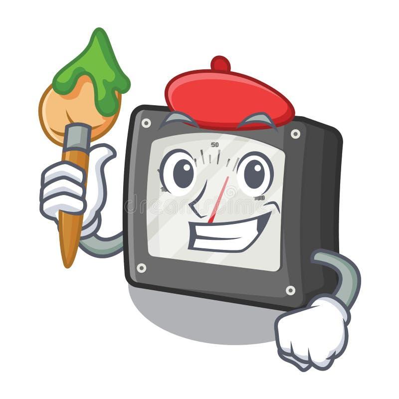 Konstnäramperemeter som isoleras i maskot stock illustrationer