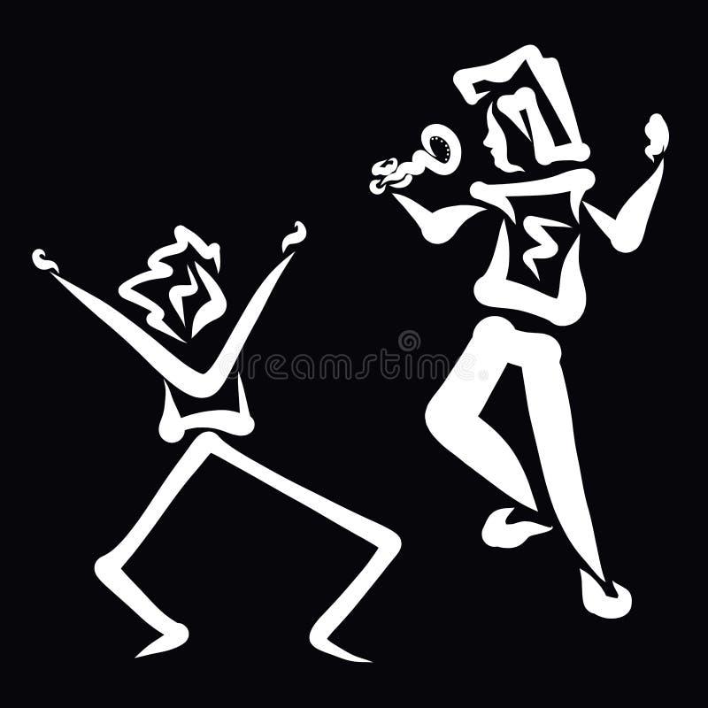 Konstnären sjunger med en mikrofon, och mannen dansar kraftigt vektor illustrationer