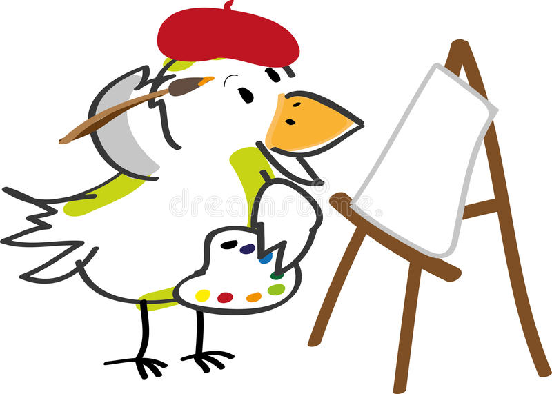 konstnärfågel stock illustrationer
