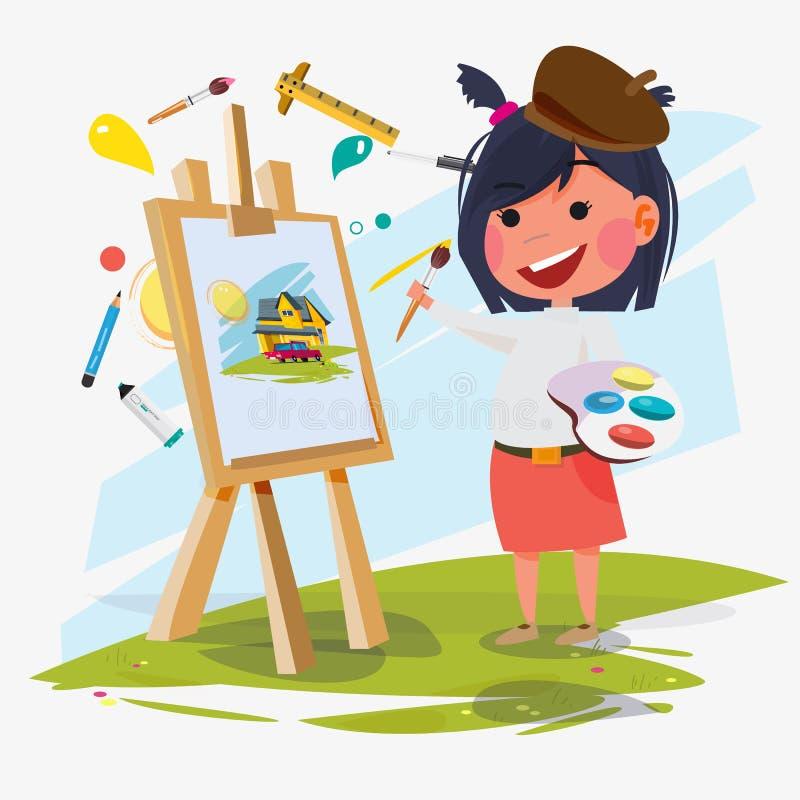 Konstnärkvinnlig- eller flickamålning på kanfas med konstsymboler Teckendesign Idérik folkyrkesamling - illust royaltyfri illustrationer