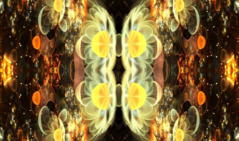 Konstnärlig abstraktion som komponeras av glödande ljusa fractalfjärilsformer och ljus på ämnet av biologi stock illustrationer