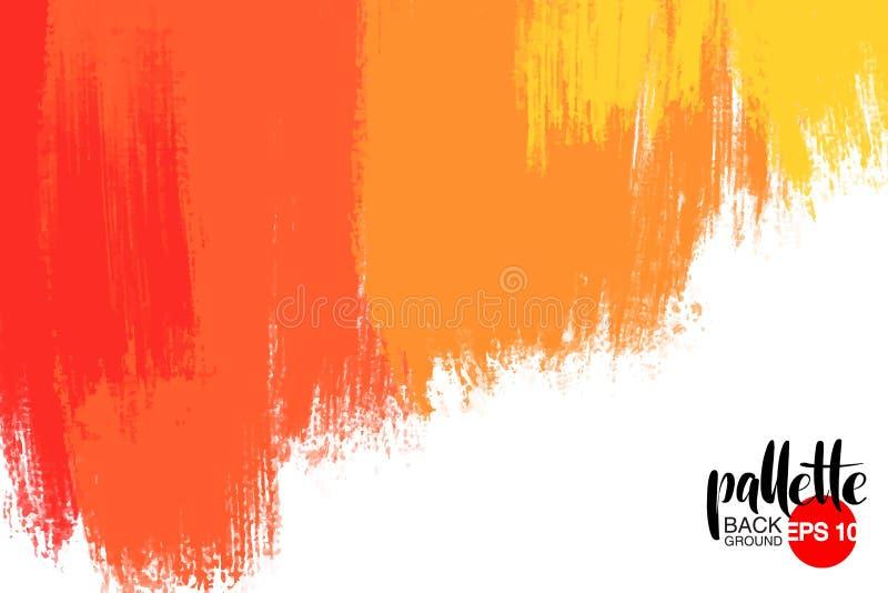 Konstnärlig bakgrund, vektor med borsteslaglängder, bakgrund för borstemålarfärgblick med färgrik hand målade fläckar stock illustrationer