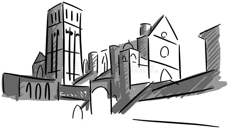 Konstnärlig basilika av St Francis i Assisi vektor illustrationer