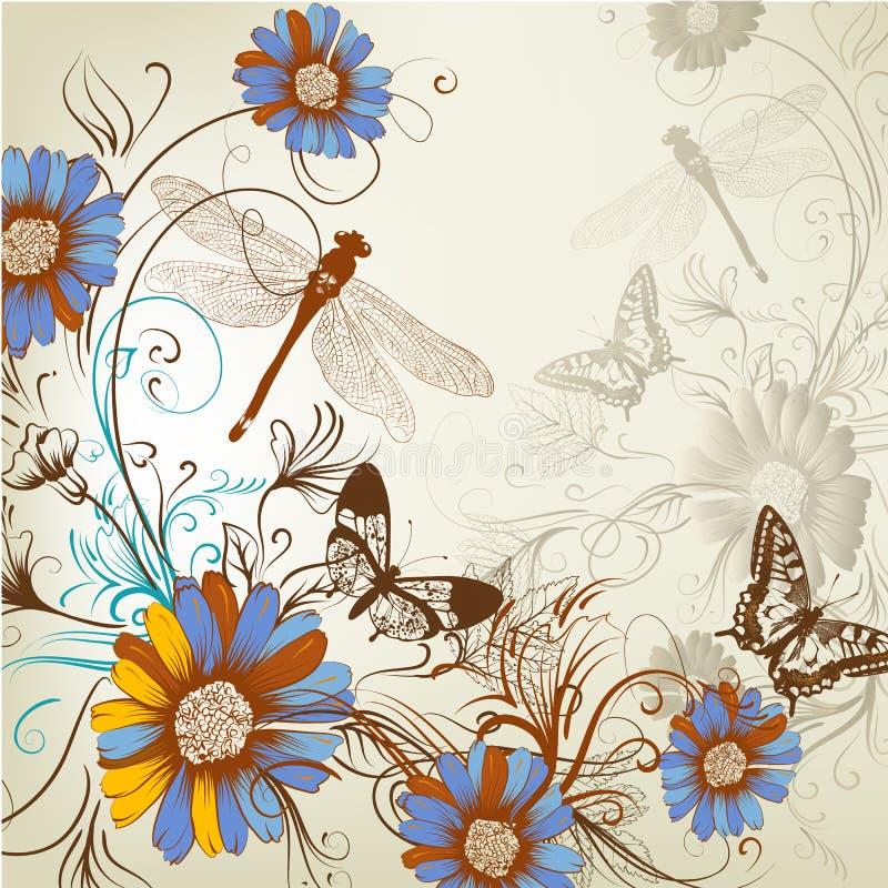 Konstnärlig blom- hand dragen bakgrund vektor illustrationer