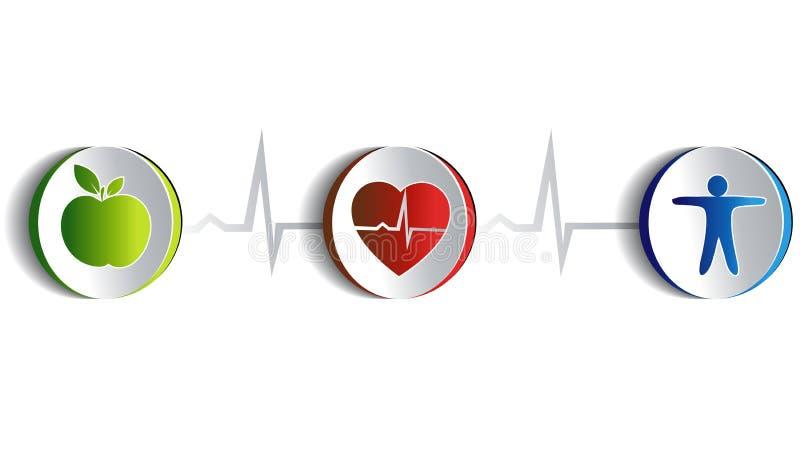 Konstnärlig design för sund livsstil royaltyfri illustrationer