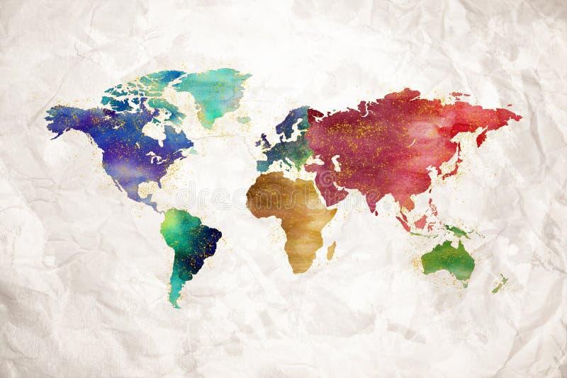 Konstnärlig design för vattenfärgvärldskarta vektor illustrationer