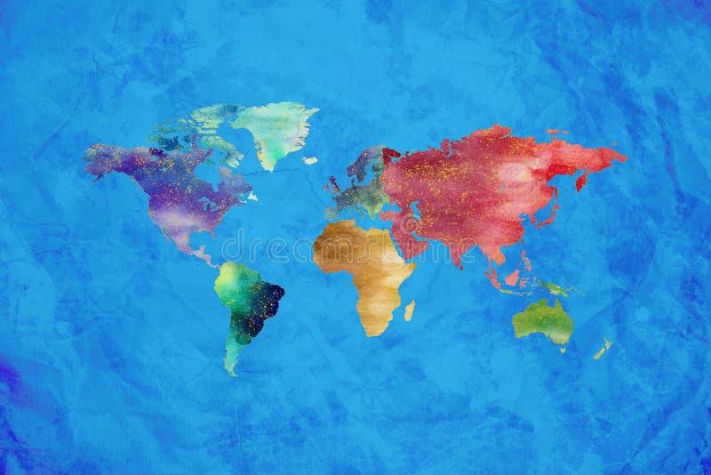 Konstnärlig design för vattenfärgvärldskarta på blå bakgrund vektor illustrationer