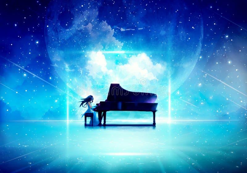 Konstnärlig Digital teckning av en kvinna som pläterar pianot stock illustrationer