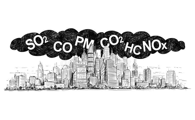 Konstnärlig dra illustration för vektor av staden som täckas av rök och luftförorening vektor illustrationer