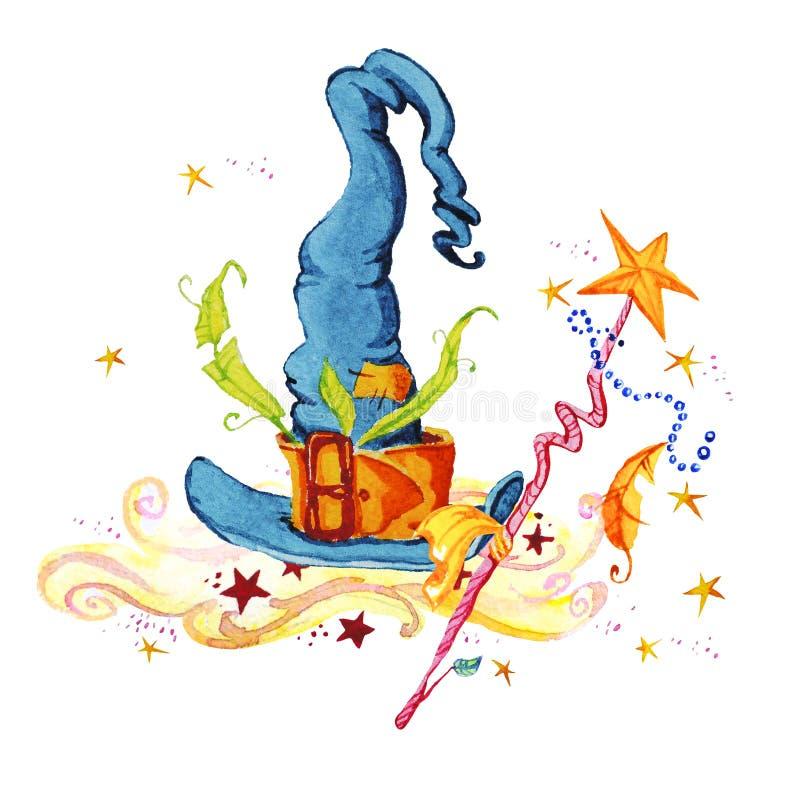 Konstnärlig dragen magisk illustration för vattenfärg hand med stjärnor, trollkarlhatten, rök och trollspöet som isoleras på vit  stock illustrationer