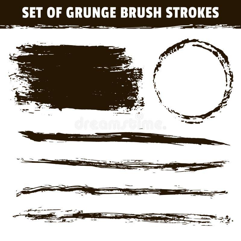 Konstnärlig drog svarta borsteslaglängder för grunge hand royaltyfri illustrationer