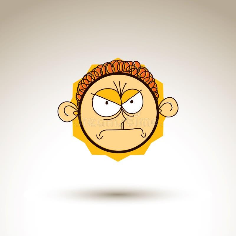 Konstnärlig färgrik teckning för vektor av den ilskna personframsidan, communica royaltyfri illustrationer