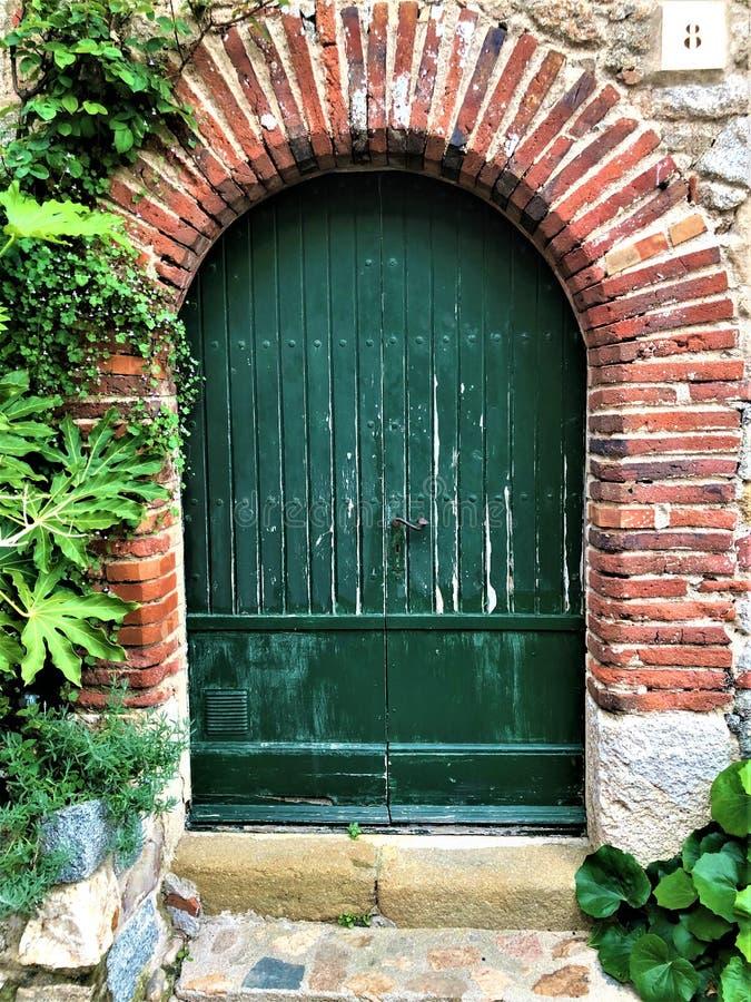 Konstnärlig förtrollande grön dörr, vegetation och tjusning i Spanien arkivbilder