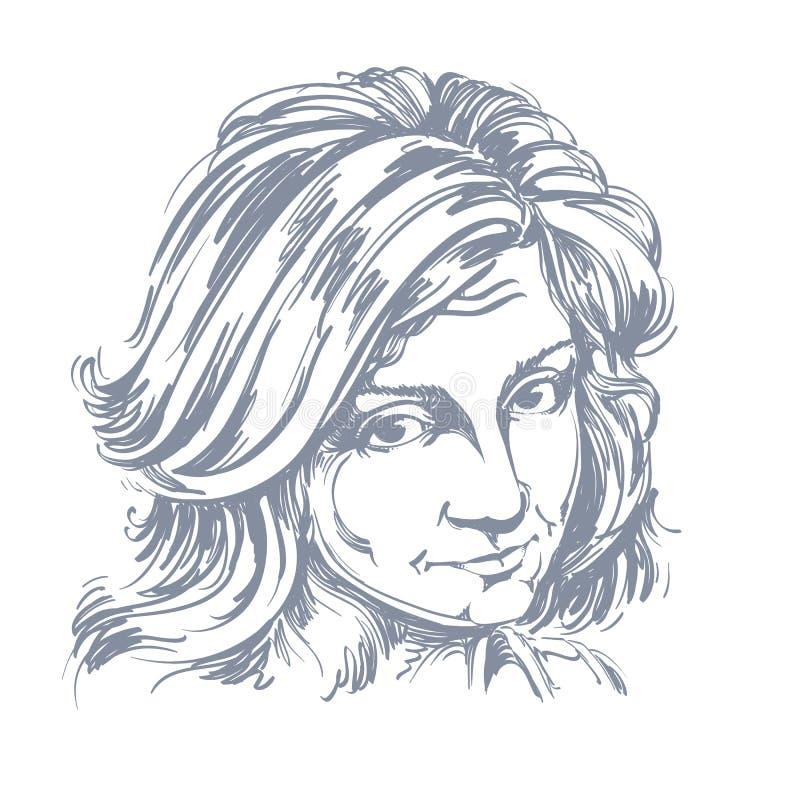 Konstnärlig hand-dragen vektorbild, stående av den delikata klandervärda flickan stock illustrationer
