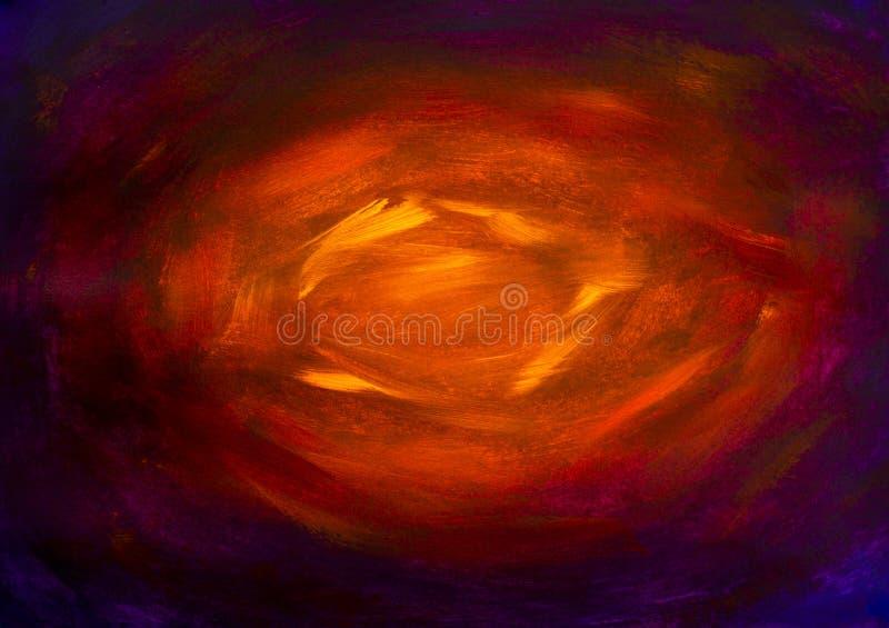 Konstnärlig handgjord målarfärg för bakgrund för abstrakt begrepp för helvete för tunnel för målning för texturcloseupolja gul rö vektor illustrationer