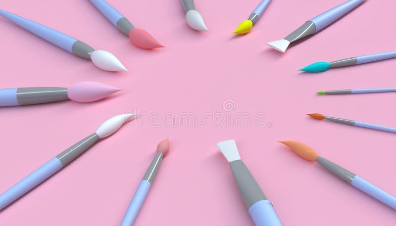 Konstnärlig hjälpmedelcloseup för målarpensel på kanfas för konstverk i konststudio och pastellfärgad rosa färgbakgrund royaltyfri illustrationer