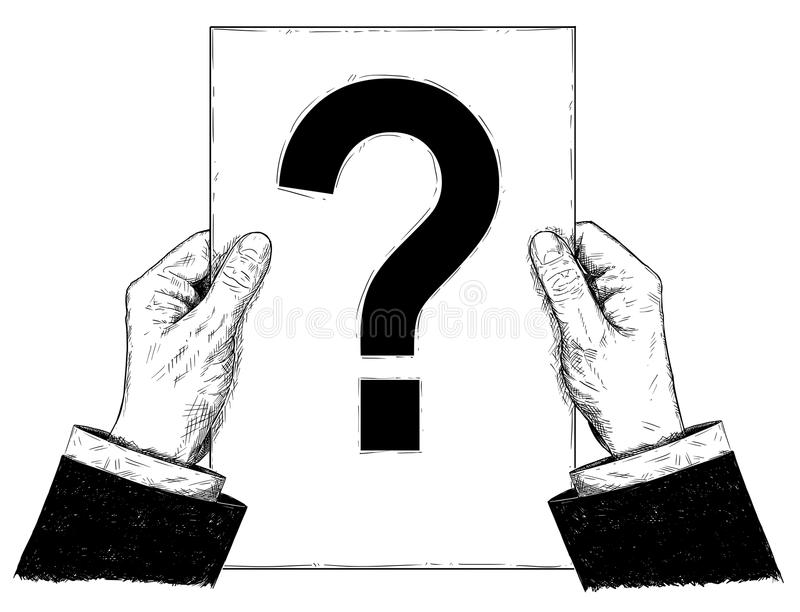 Konstnärlig illustration för vektor eller teckning av affärsmannen Hand Holding Document med frågefläcken stock illustrationer