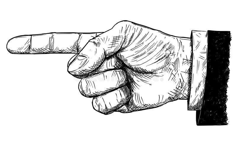 Konstnärlig illustration för vektor eller teckning av affärsmannen Hand i dräkt med fingret som pekar lämnad riktning royaltyfri illustrationer