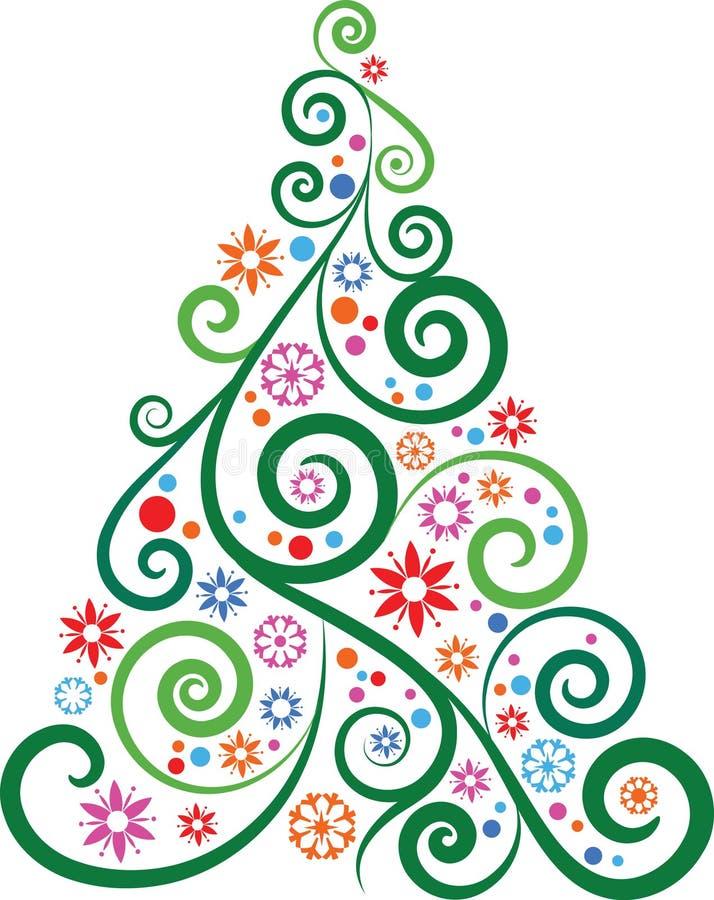 Konstnärlig julgran royaltyfri illustrationer