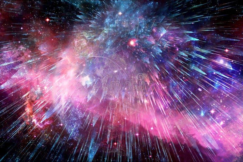 Konstnärlig nebulosagalax som exploderar in i bakgrund för djupt utrymme royaltyfri bild