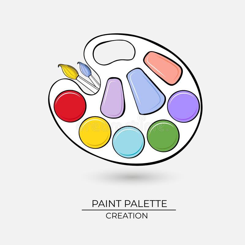 Konstnärlig palett för symbol för målarfärger med borstar på en vit bakgrund stock illustrationer