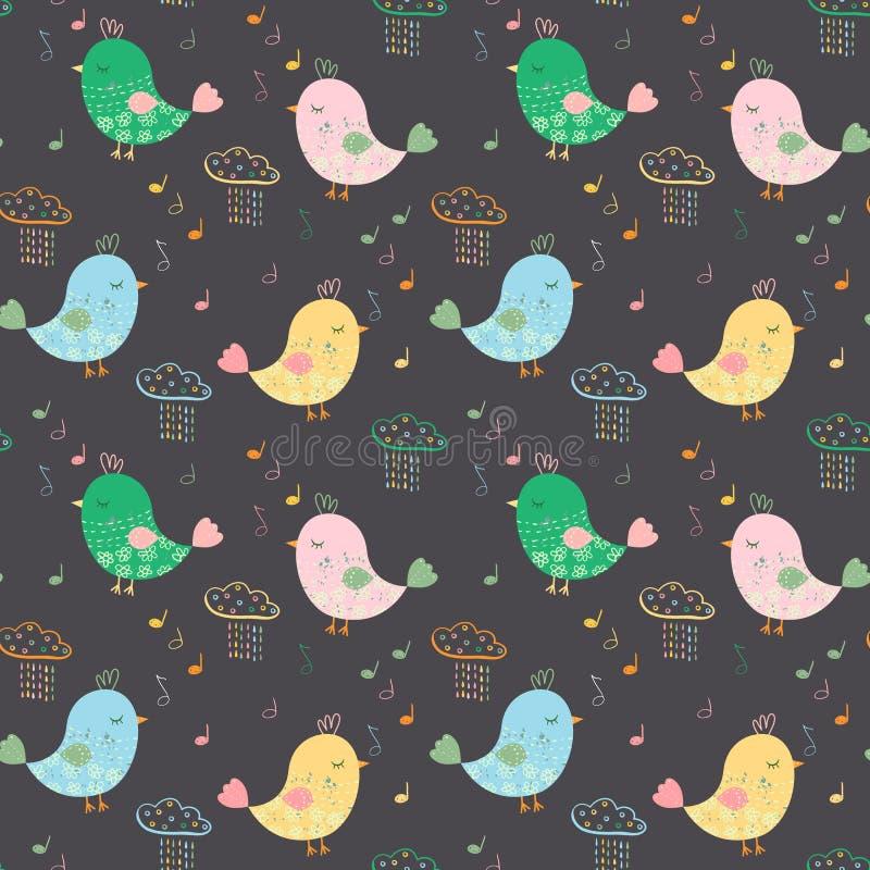 Konstnärlig sömlös modell med färgrika fåglar, anmärkningar och regnigt c stock illustrationer