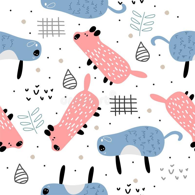 Konstnärlig teckning för gullig förtjusande liten rosa för svinhuvudtecknad film för klotter sömlös för modell för bakgrund för t stock illustrationer