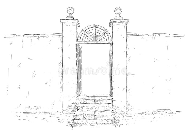 Konstnärlig teckningsillustration för vektor av den dekorerade trädgårds- porten med väggen vektor illustrationer