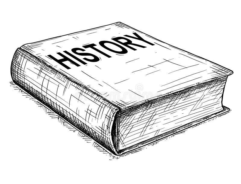 Konstnärlig teckningsillustration för vektor av den gamla stängda historieboken royaltyfri illustrationer