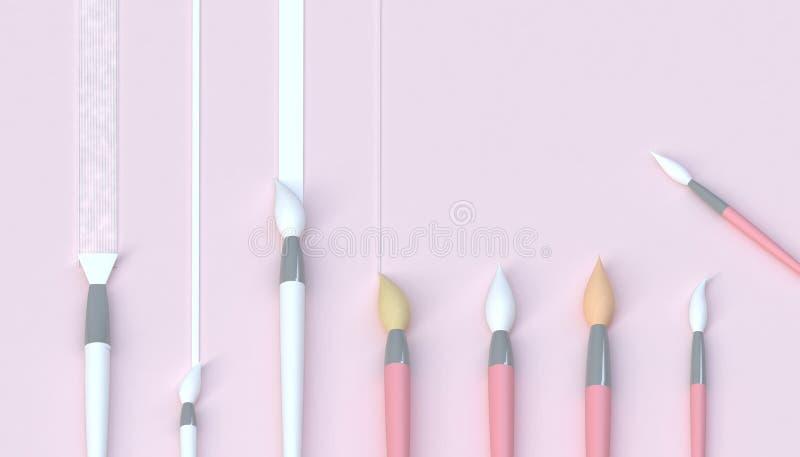 Konstnärlig uppsättning för målarpensel och härligt konstverk i studio och minsta begrepp på pastellfärgad rosa signalbakgrund royaltyfri illustrationer