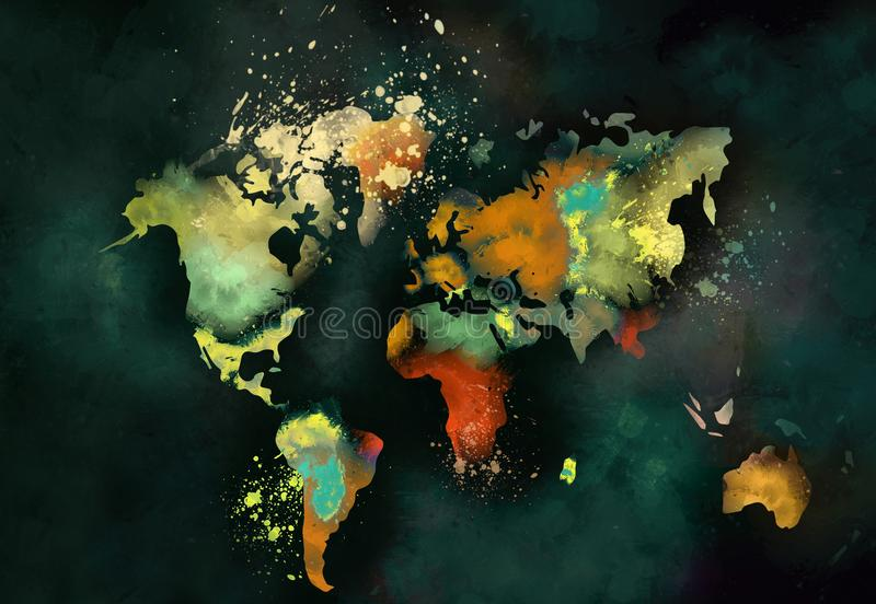 Konstnärlig världskartamålning vektor illustrationer