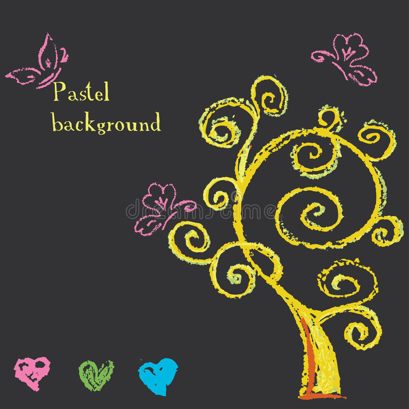 konstnärlig vrctor för hjärtaillustrationtree Bakgrund målad pastellfärgad färgpenna vektor illustrationer