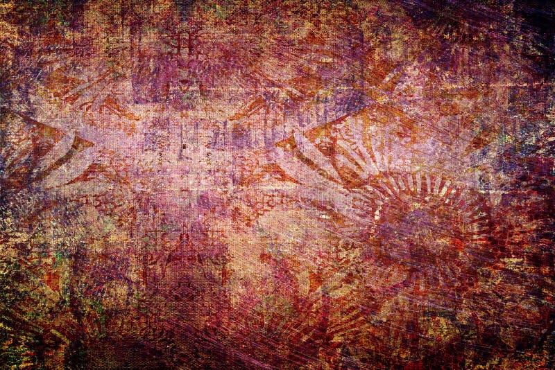 Konstnärliga abstrakta guld- röda mjuka Misty Ancient Texture Artwork vektor illustrationer