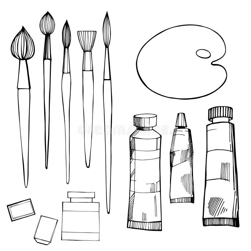 Konstnärliga målarpenslar och målarfärger Vektorn skissar illustrationen stock illustrationer