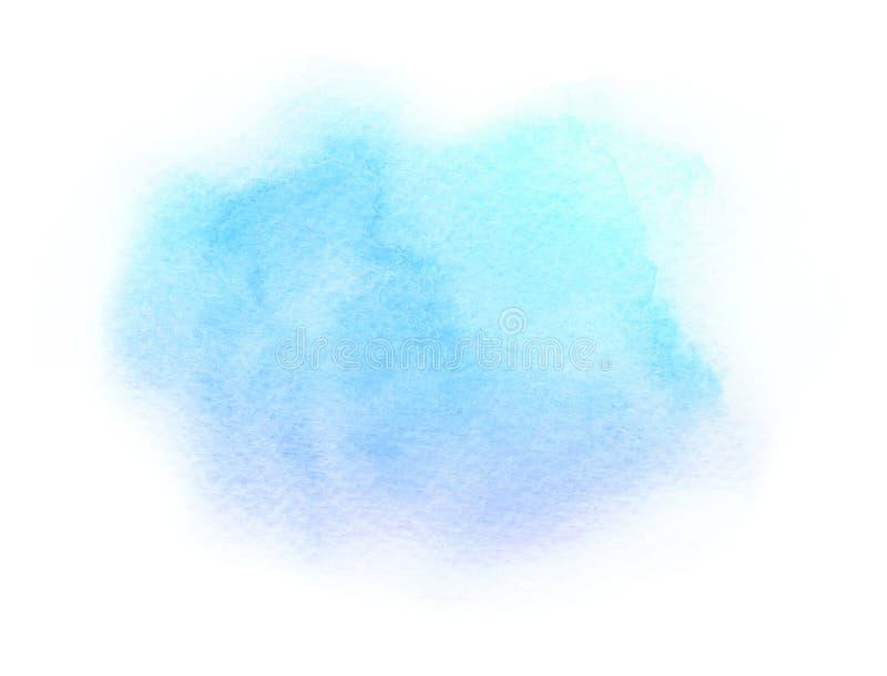 Konstnärligt abstrakt ljust för vattenfärg - blå borsteslaglängd som isoleras på vit bakgrund stock illustrationer